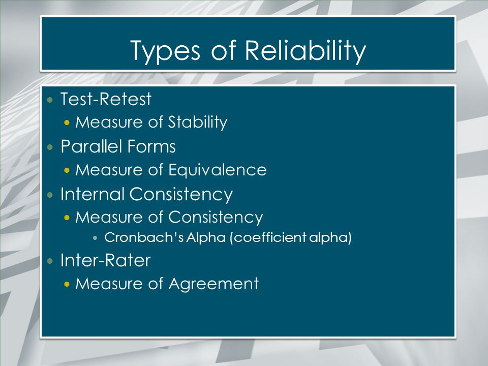 Types of Reliability Test-Retest Parallel Forms Internal Consistency