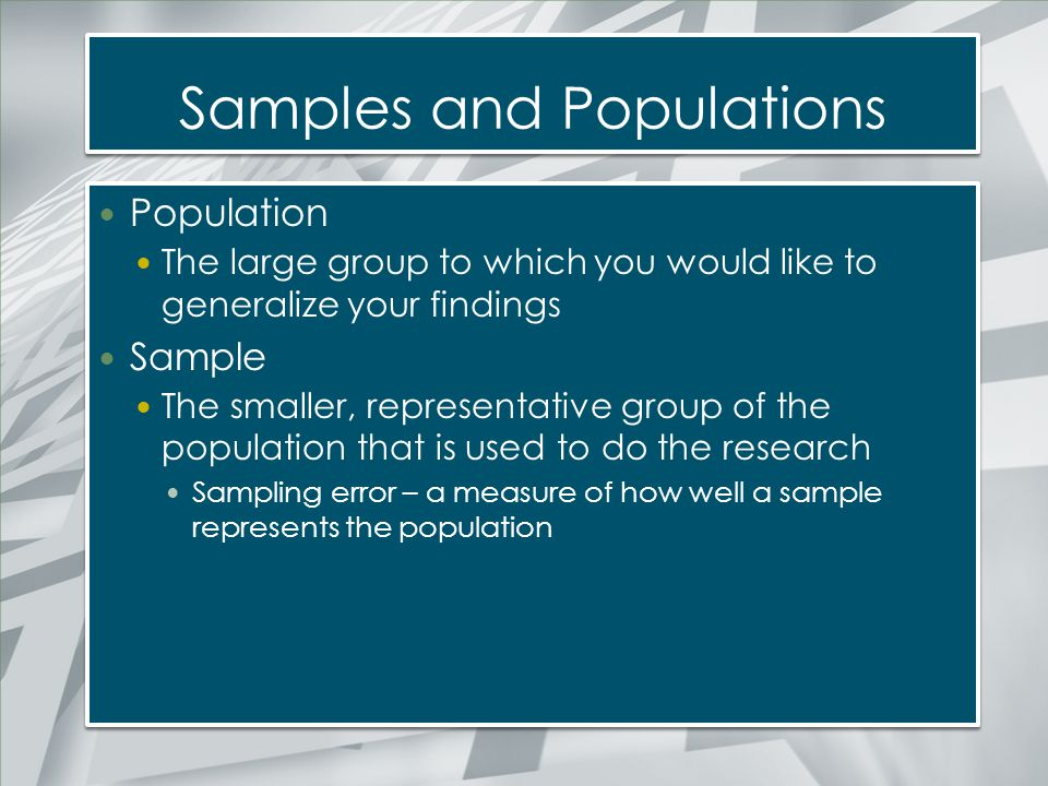 Samples and Populations