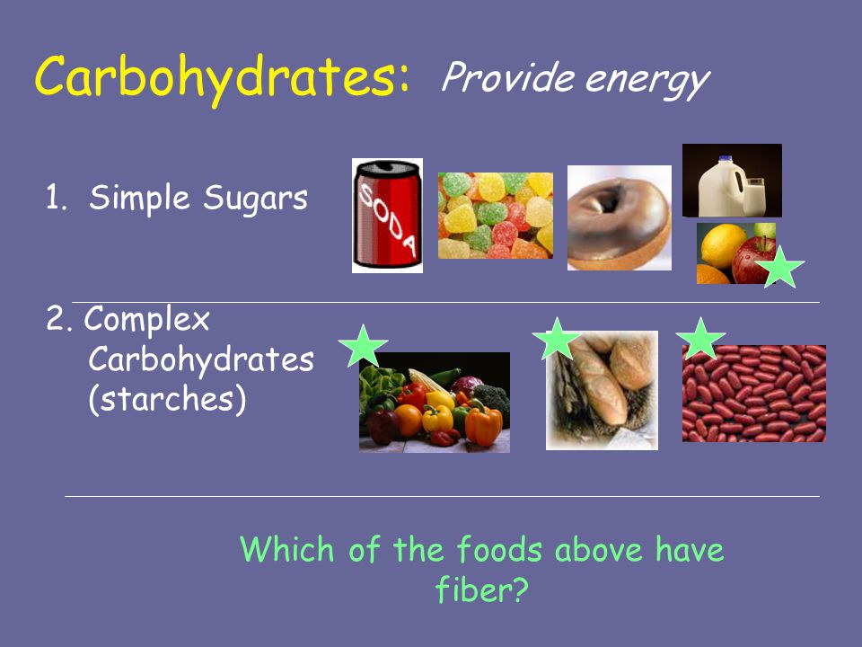 Which of the foods above have fiber