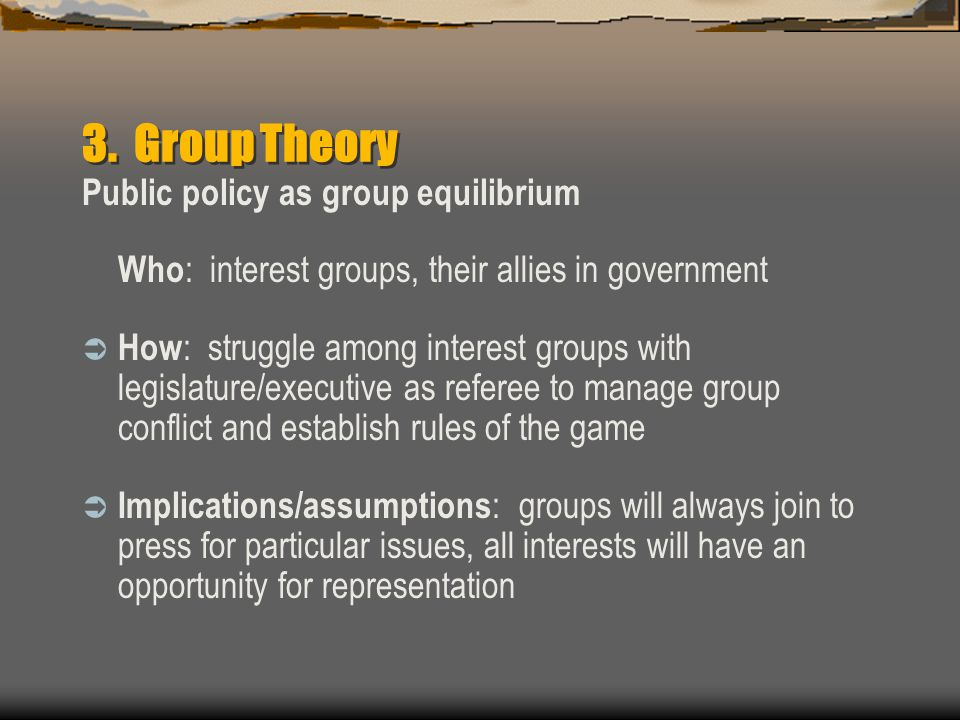 3. Group Theory Public policy as group equilibrium