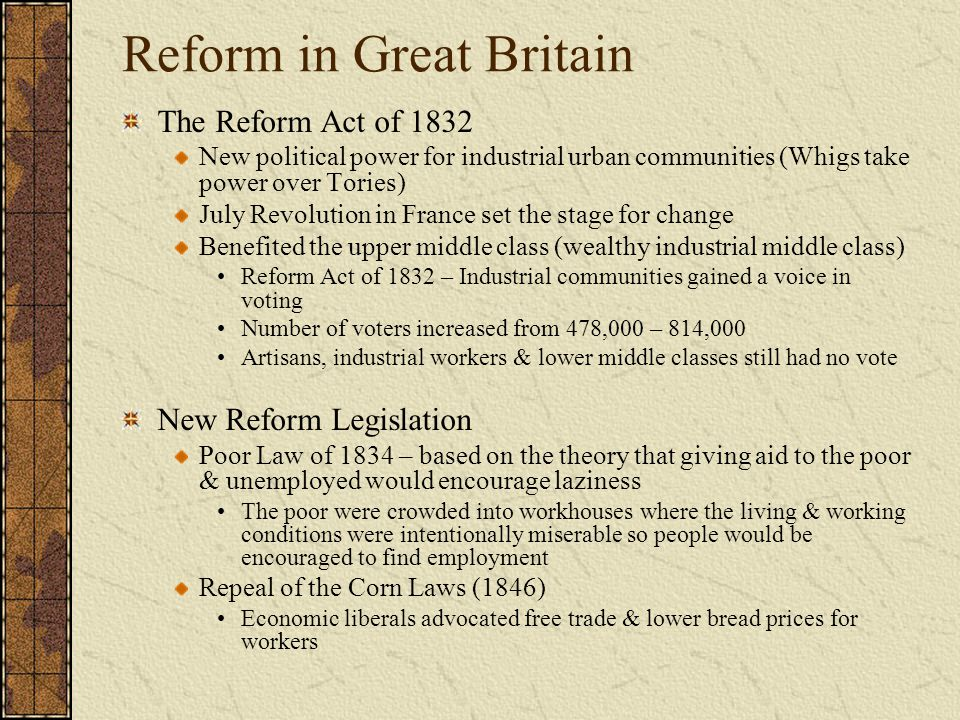 interpreting the 1832 reform act essay The 1867 reform act was the second major attempt to reform britain's electoral process - the first being the 1832 reform actthe 1867 reform act is properly titled the representation of the people act 1867.