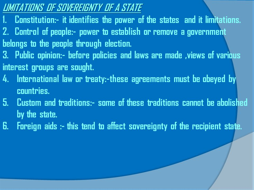 LIMITATIONS OF SOVEREIGNTY OF A STATE