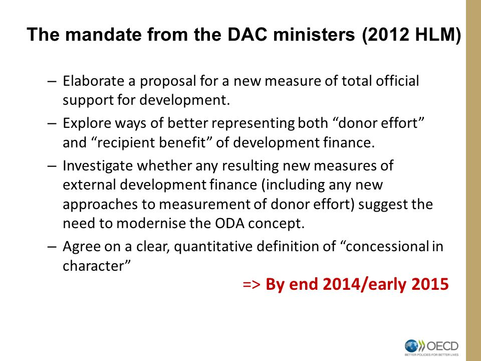The mandate from the DAC ministers (2012 HLM)