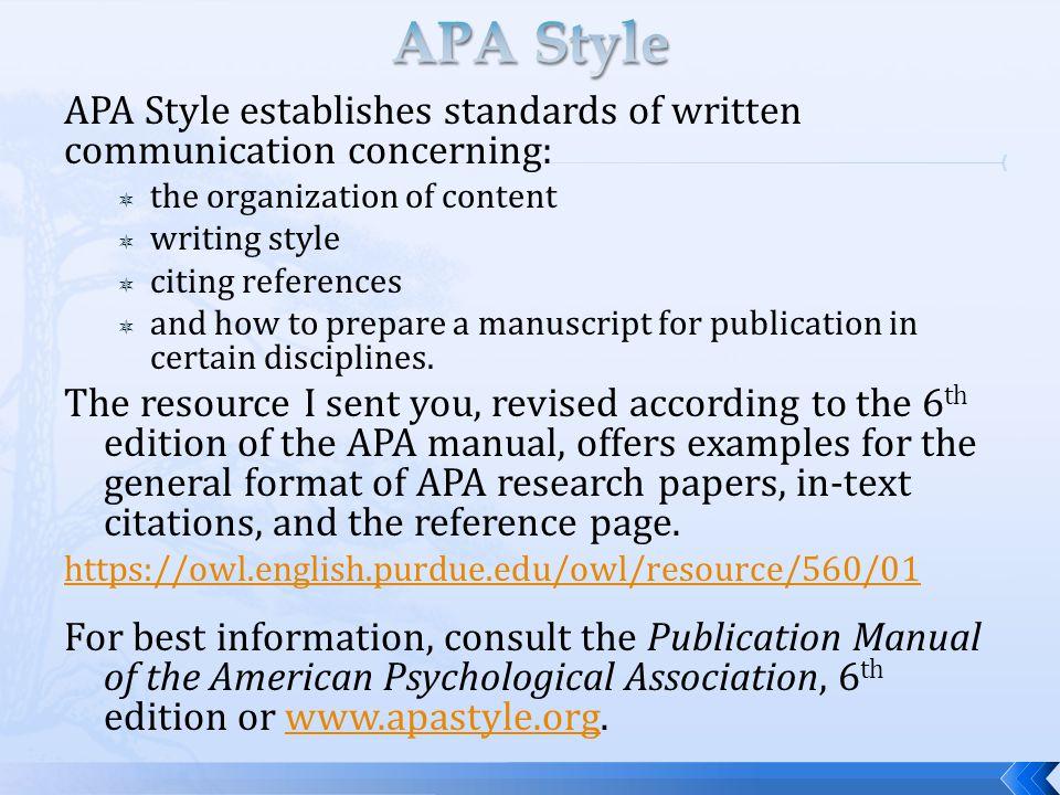 APA Style APA Style Establishes Standards Of Written Communication