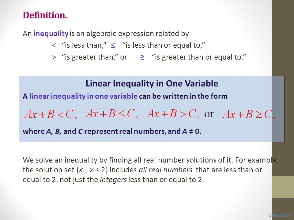 Linear Inequality in One Variable