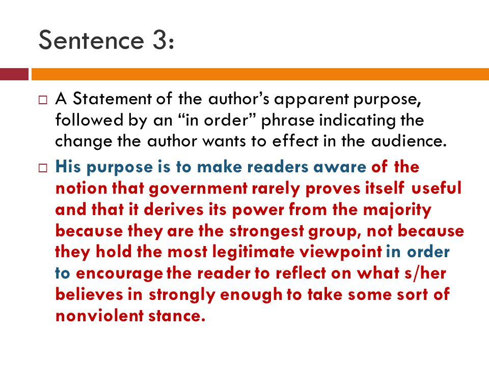 sentence and statement The thesis itself, as presented in the thesis statement, does not suggest the main idea-it is the main idea remember, too, that a thesis statement will always be a complex sentence there is no other way to make a statement.