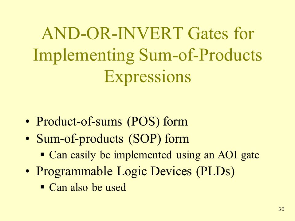 AND-OR-INVERT Gates for Implementing Sum-of-Products Expressions