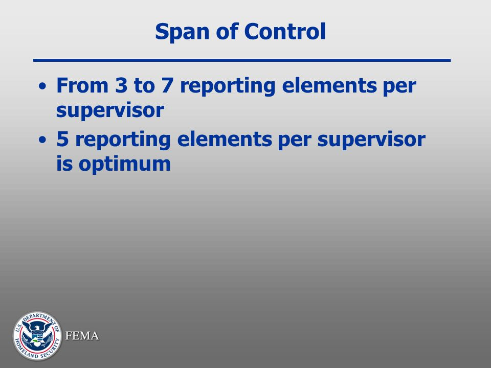Span of Control From 3 to 7 reporting elements per supervisor