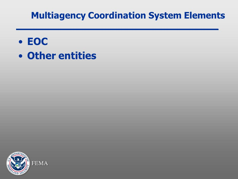 Multiagency Coordination System Elements