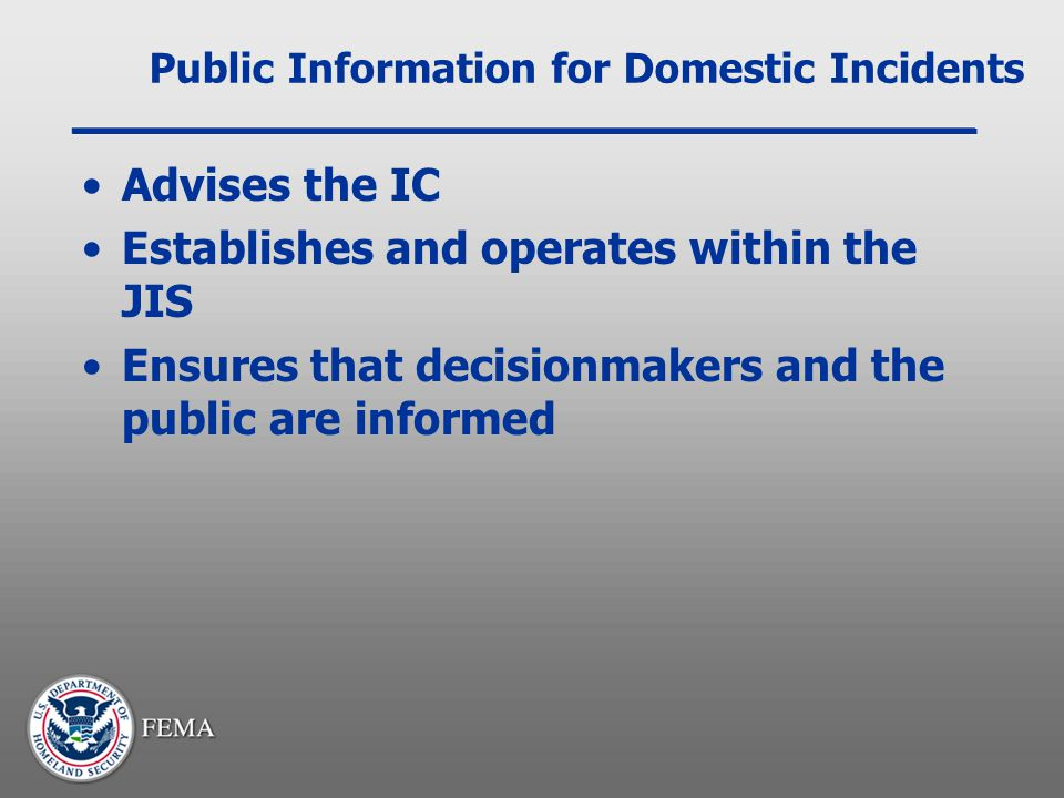 Public Information for Domestic Incidents