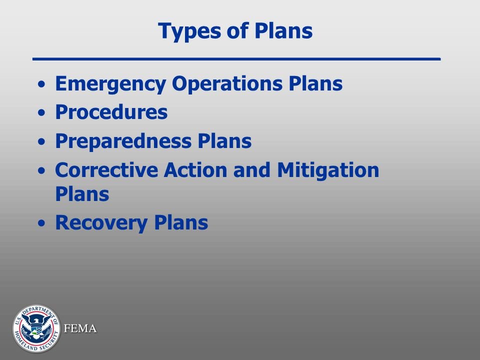 Types of Plans Emergency Operations Plans Procedures