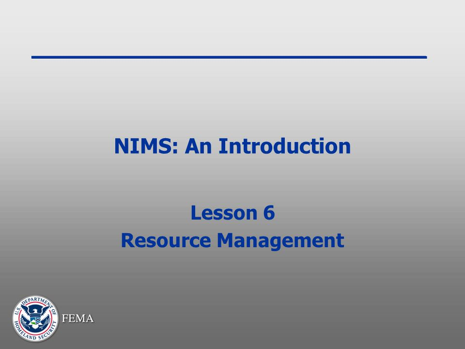 Lesson 6 Resource Management