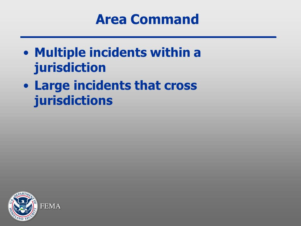 Area Command Multiple incidents within a jurisdiction