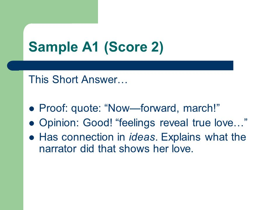 Sample A1 (Score 2) This Short Answer…