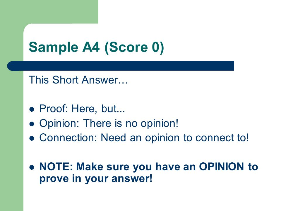 Sample A4 (Score 0) This Short Answer… Proof: Here, but...