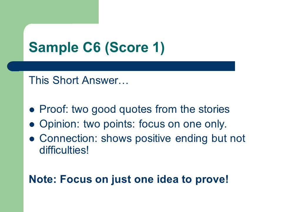 Sample C6 (Score 1) This Short Answer…