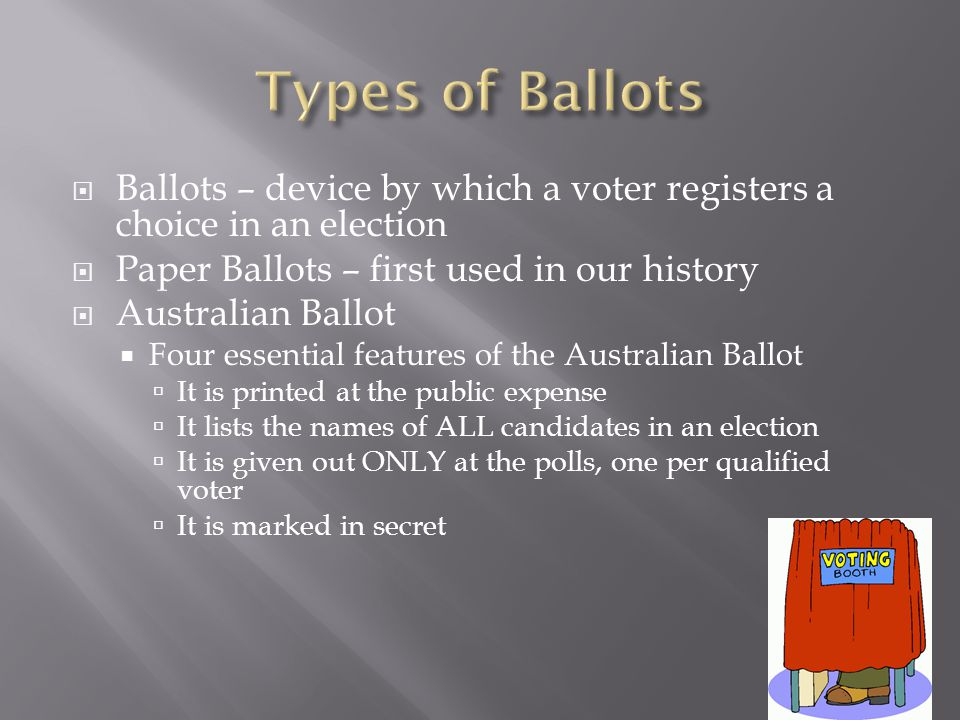 Types of Ballots Ballots – device by which a voter registers a choice in an election. Paper Ballots – first used in our history.