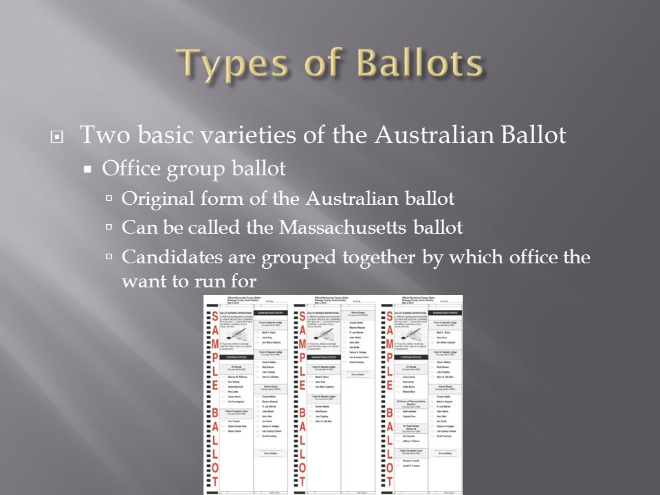 Types of Ballots Two basic varieties of the Australian Ballot