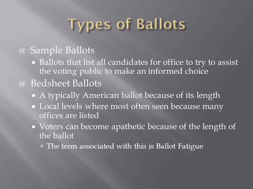 Types of Ballots Sample Ballots Bedsheet Ballots