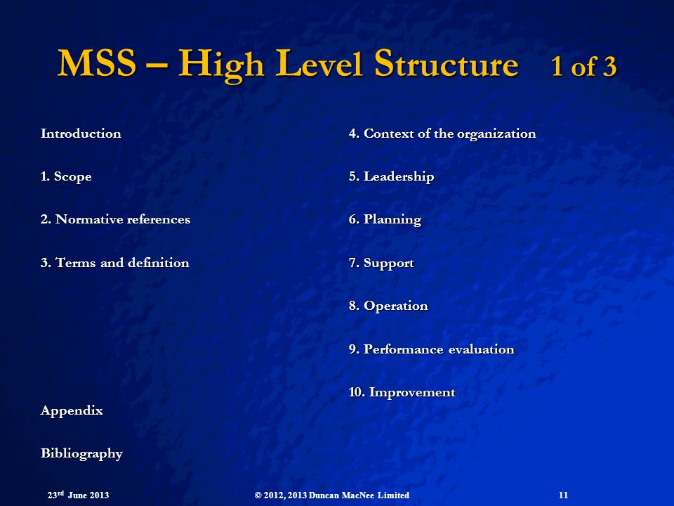 MSS – High Level Structure 1 of 3