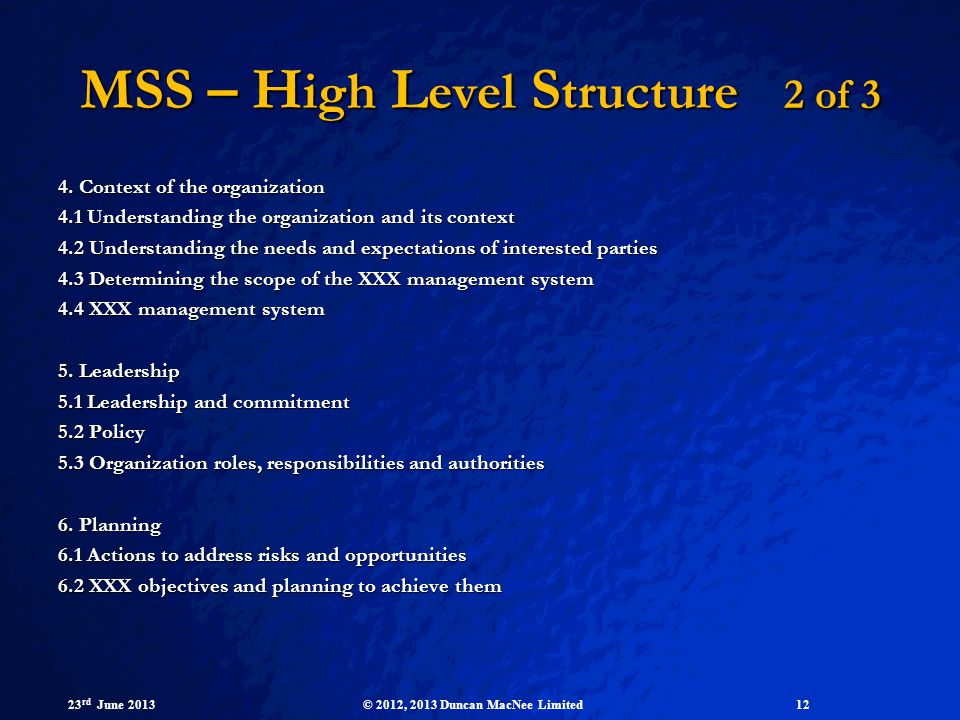 MSS – High Level Structure 2 of 3