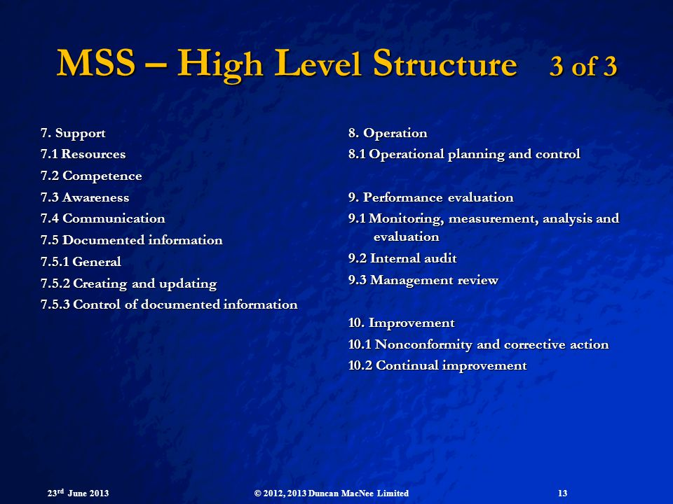 MSS – High Level Structure 3 of 3