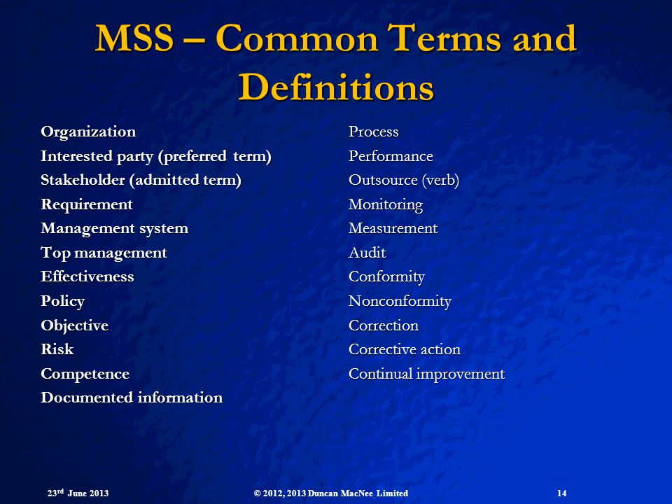 MSS – Common Terms and Definitions
