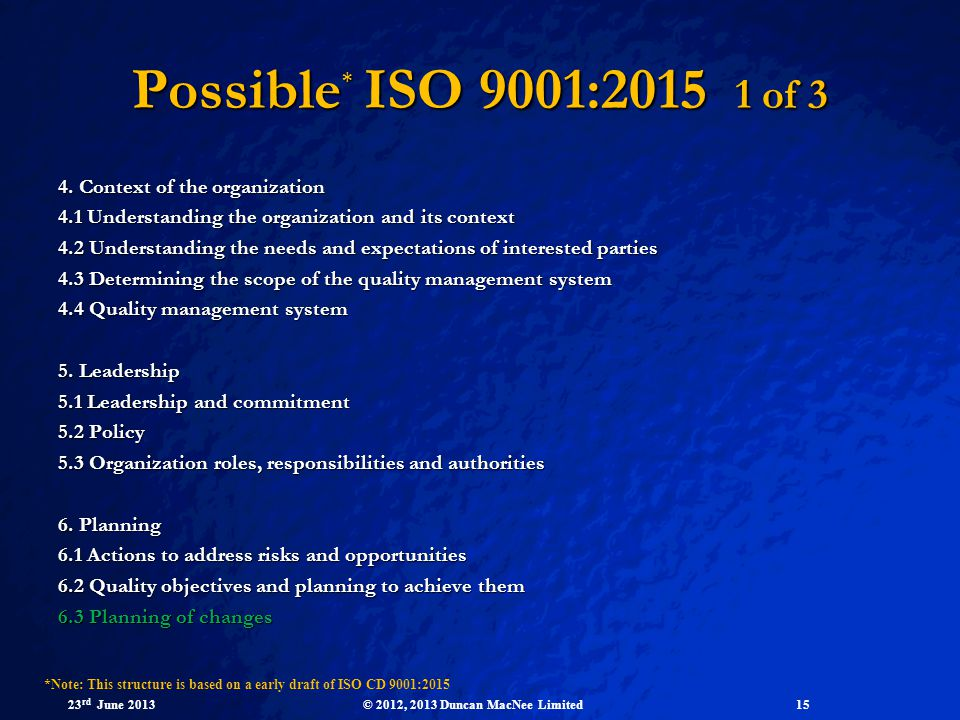 Possible* ISO 9001: of 3