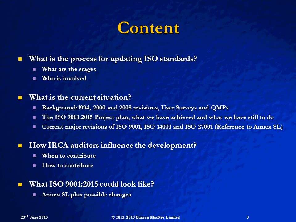 Content What is the process for updating ISO standards