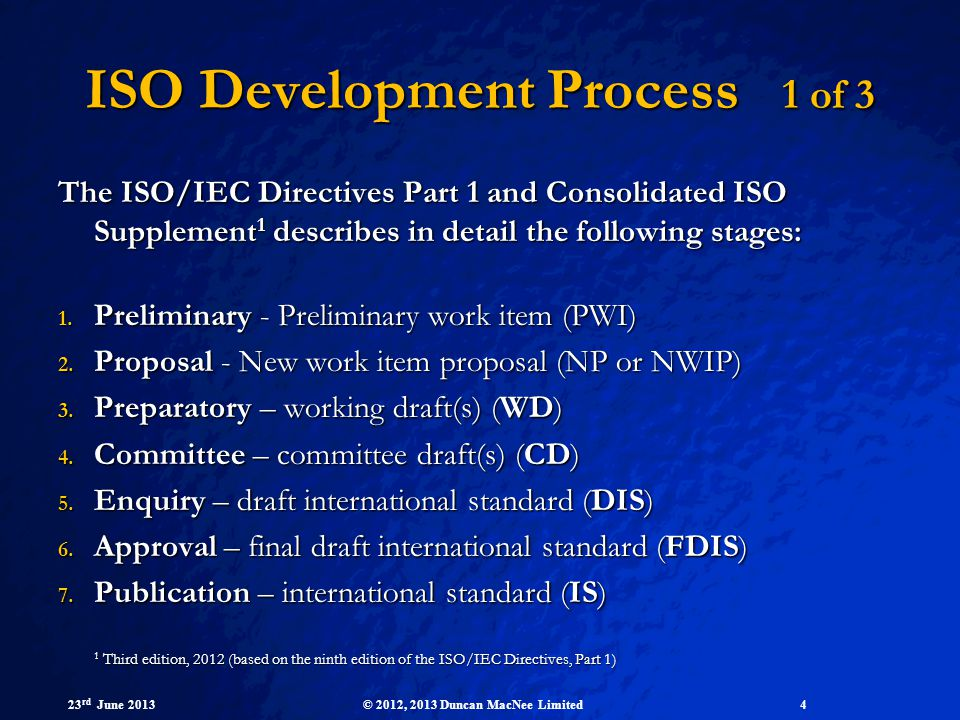 ISO Development Process 1 of 3