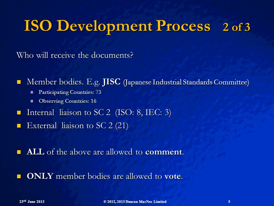 ISO Development Process 2 of 3