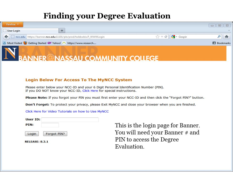 Finding your Degree Evaluation