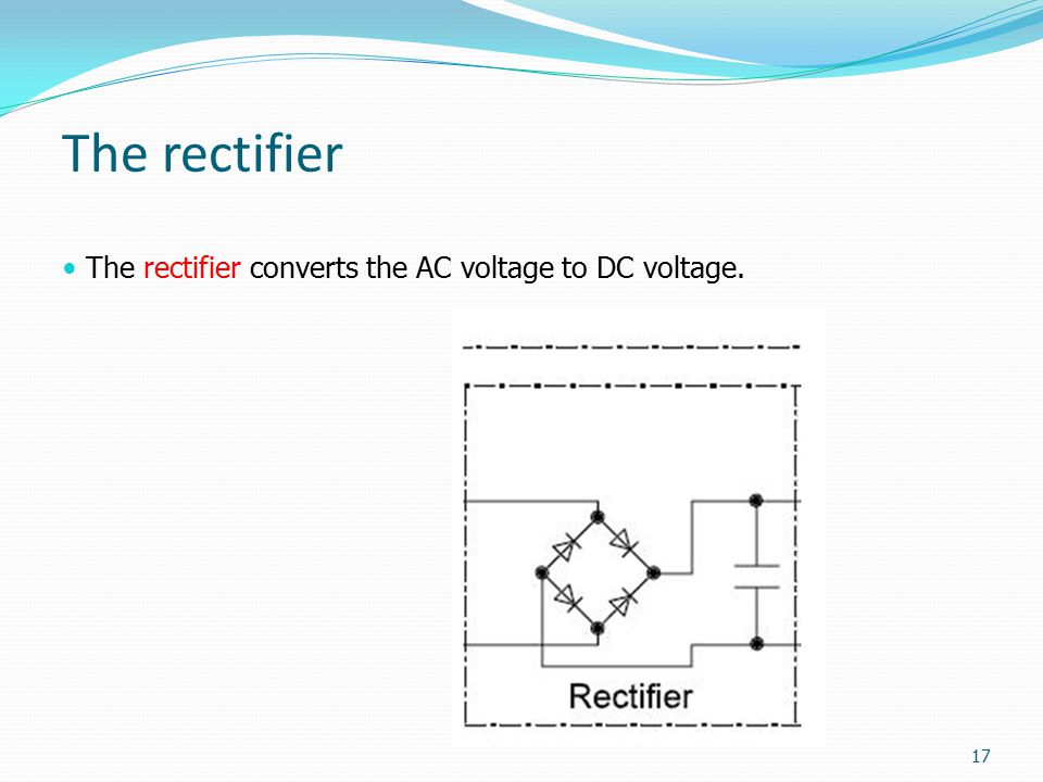 The rectifier The rectifier converts the AC voltage to DC voltage.