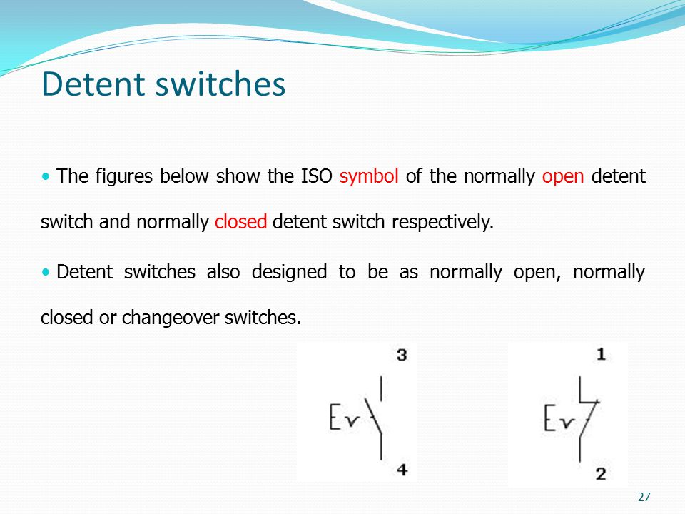 Detent switches The figures below show the ISO symbol of the normally open detent switch and normally closed detent switch respectively.