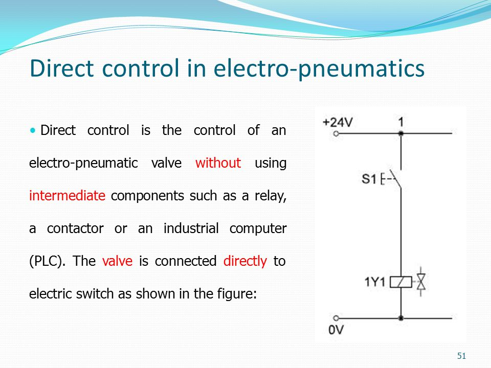Direct control in electro-pneumatics