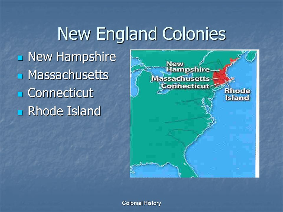 an overview of the new england and southern colonies The first english emigrants to what would become the new england colonies were a small group of the southern colonies by contrast, the carolina colony, a territory that stretched south from john white, the governor of the roanoke island colony in present-day north carolina, returns from a.