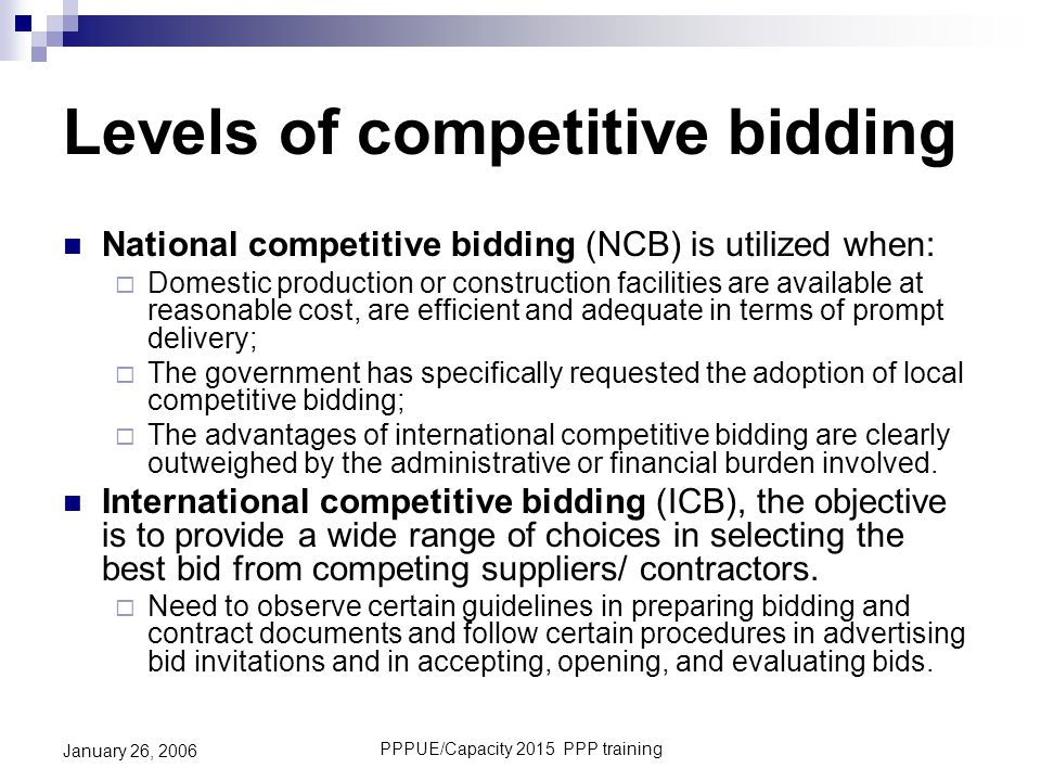 Levels of competitive bidding