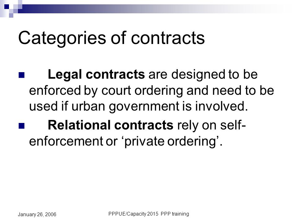 Categories of contracts