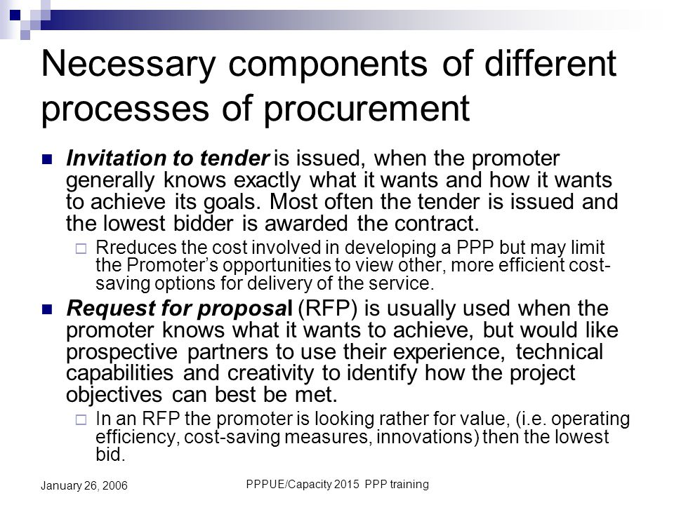 Necessary components of different processes of procurement