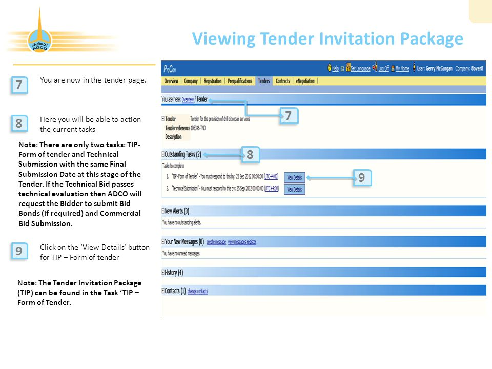 8 viewing tender invitation package