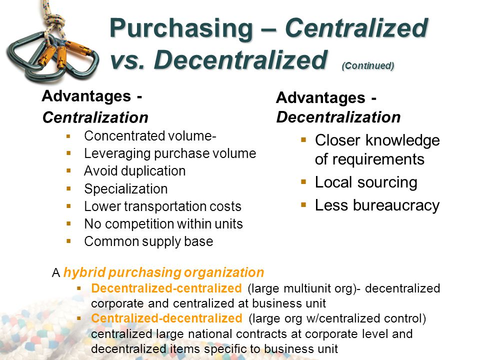 centralised and decentralised purchasing In the procurement industry it's our own groundhog day - we keep revisiting the question of which is better, centralized or decentralized procurement if the economic benefits of centralized procurement are a no brainer - that is, leveraging volume - could there be any other reason or.