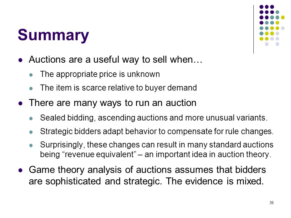 Summary Auctions Are A Useful Way To Sell When