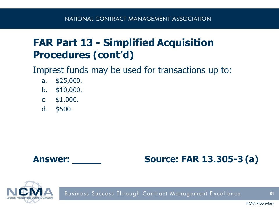 Section 1: FAR Parts 1-9, Federal Acquisition Regulations
