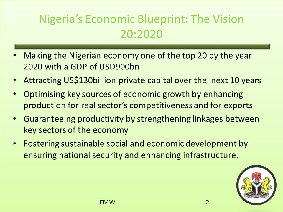 Infrastructure investment opportunities ppt download nigerias economic blueprint the vision 202020 malvernweather Images