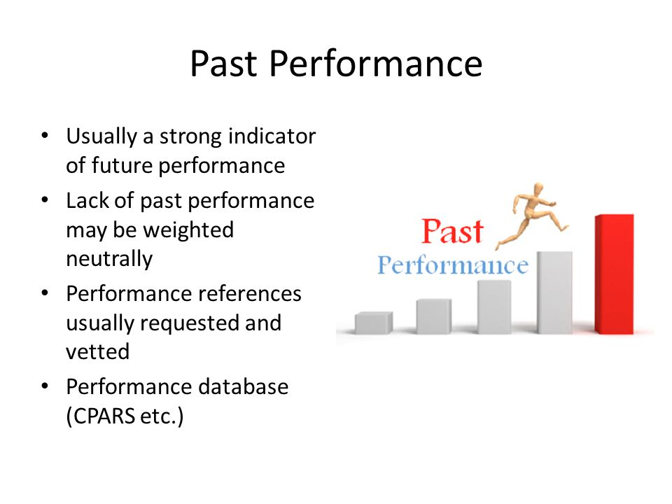 Past Performance Usually a strong indicator of future performance