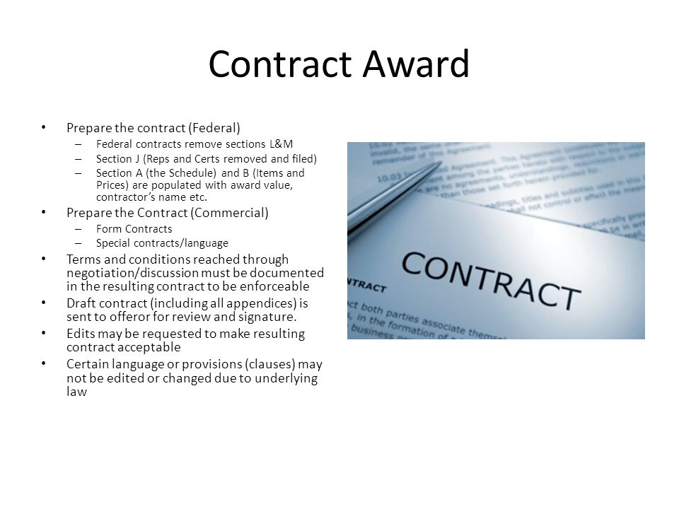 Contract Award Prepare the contract (Federal)