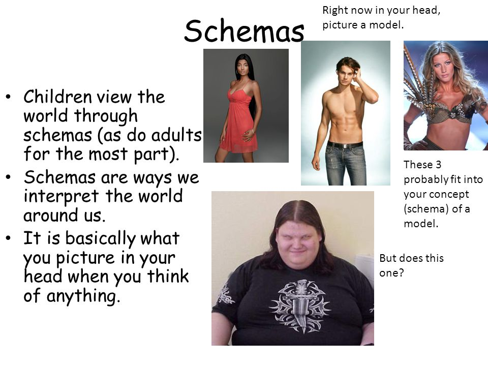 Schemas Right now in your head, picture a model. Children view the world through schemas (as do adults for the most part).