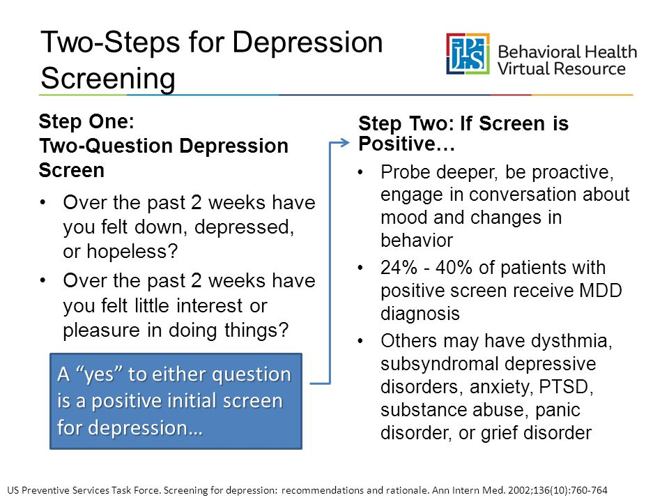 Two Steps For Depression Screening