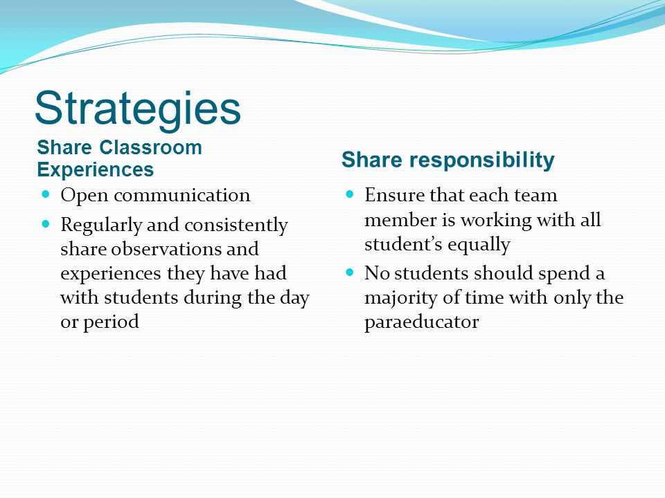 Strategies Share responsibility Share Classroom Experiences