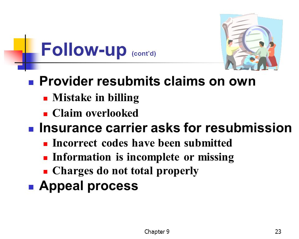Follow-up (cont'd) Provider resubmits claims on own